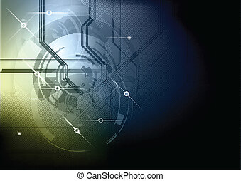 blue and gold abstract tech background