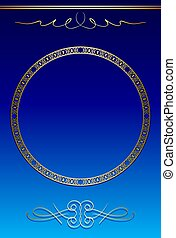 blue and gold background with vintage round frame - vector