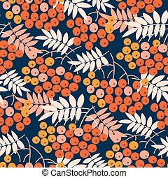 Blue and gold bright rowanberry seamless pattern for autumn...