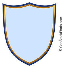 Blue and gold shield on a white background