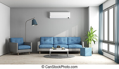 Blue and gray modern lounge
