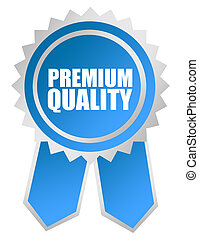 blue and gray premium quality rosette over white background