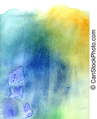 Blue and green abstract watercolor background - Bright blue...