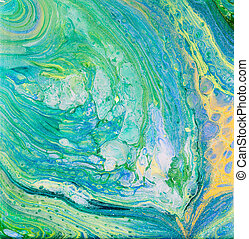 Blue and Green Acrylic Pour Painting