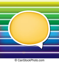Blue And Green Background With Strips And Speech Bubble