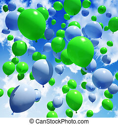 Blue and green Balloon's in sky.