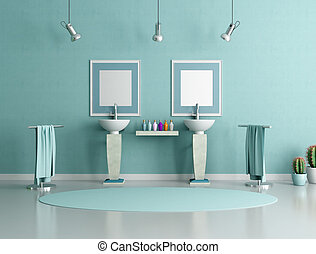 blue and green bathroom