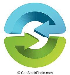 Blue and green circular arrow symbol / icon