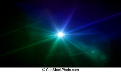 blue and green color lens star flare