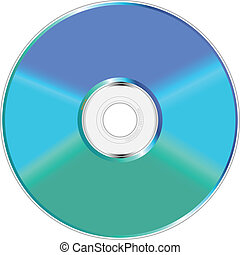 Blue and green compact disc.