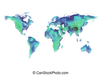 world map, watercolor painting - blue and green earth, world...