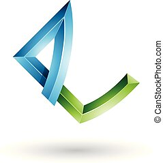 Blue and Green Embossed Letter E with Bended Joints Vector Illustration