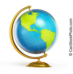 Blue and green globe isolated on white background. 3D illustration