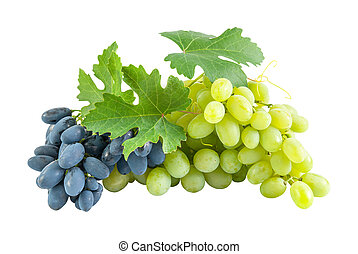 Blue and green grapes - Ripe blue and green grapes with ...