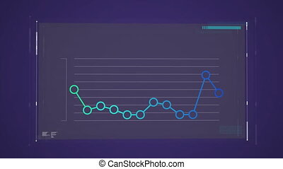 Blue and green graph on dark blue background