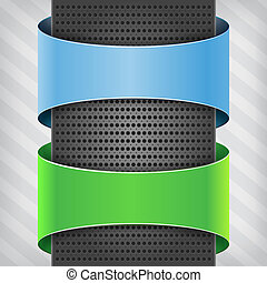 blue and green labels with metallic column