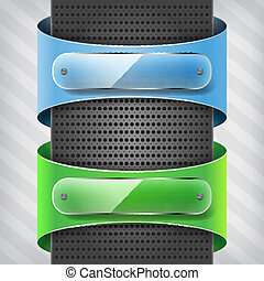 blue and green  labels