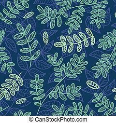 Blue and green leaves seamless pattern. Vector background.