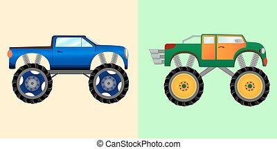 Blue and green monster trucks