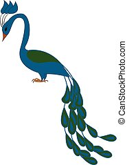 Blue and green peacock  vector illustration on white background