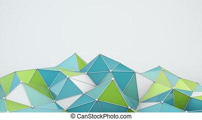 Blue and green polygonal shape 3D render loop