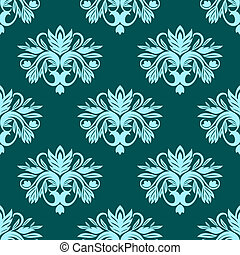 Blue and green seamless floral pattern