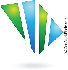 Blue and Green Shiny Square Abstract Icon