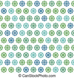 Blue and Green Ship Helm Pattern on White Background