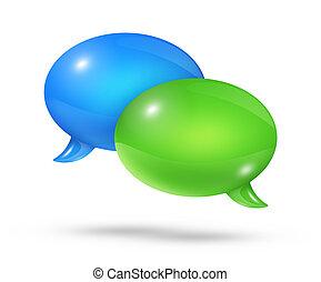Blue and green speech bubbles