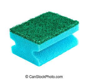 blue and green sponge