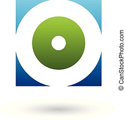 Blue and Green Square Icon of a Thick Letter O Vector Illustration