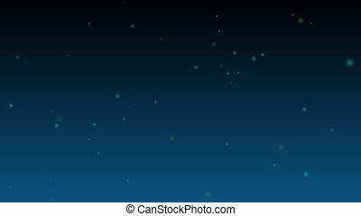 Blue and green stars on dark gradient background.