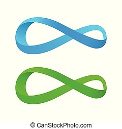 Blue and Green Tape of Mobius, Vector Illustration isolated...