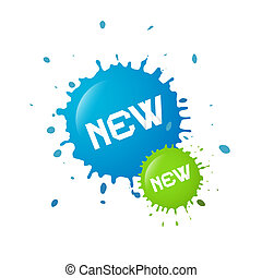 Blue and Green Vector New Splashes, Blots