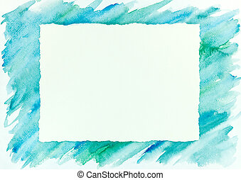 blue and green watercolor brush stroke frame background