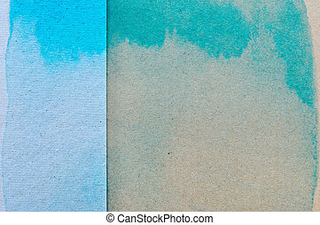 Blue and green watercolor on brown paper background