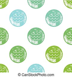 Blue and Green Waves Pattern on White Background