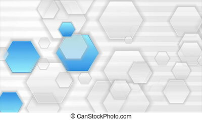 Blue and grey hexagons abstract tech motion background