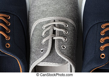 Blue and grey sneakers