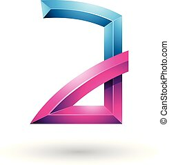 Blue and Magenta Embossed Letter A with Bended Joints Vector Illustration