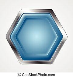 Blue and metallic hexagon shape logo. Vector button design