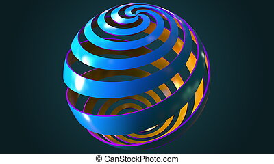 Blue and orange abstract spiral globe, 3D rendering -...