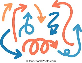 Blue and orange arrows on white background