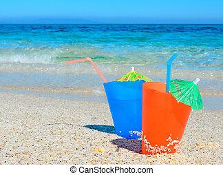 blue and orange cocktails