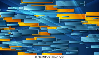 Blue and orange glossy geometric abstract video animation - ...