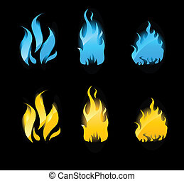 Blue and orange glowing flames on black background - Set of...