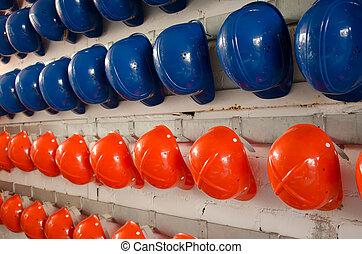 Blue and orange Helmets