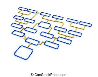 Blue and orange schematic diagram. 3d rendered illustration.