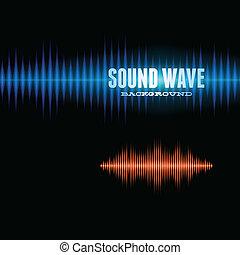 Blue and orange shiny sound waveform background