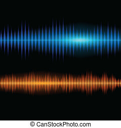 Blue and orange shiny sound waveform background with sharp...